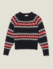 Pullover con motivo geometrico : Copy of -40% colore Rouge/Noir/Ecru
