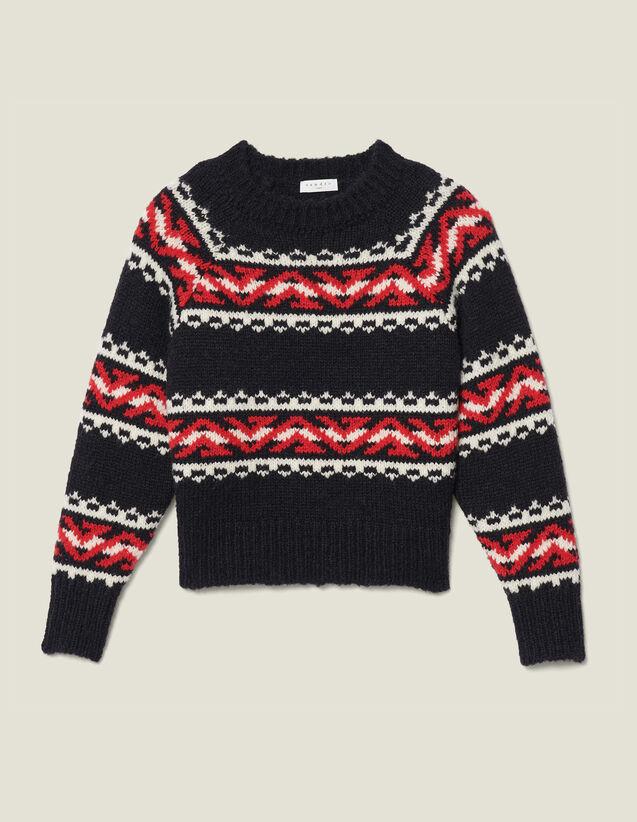 Pull à motif géométrique en jacquard : Pulls & Cardigans couleur Rouge/Noir/Ecru