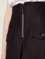 Gonna A Vita Alta Con Zip A Contrasto : null colore Nero