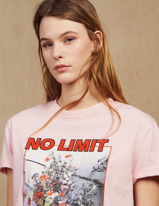 T-Shirt À Message Avec Iconographie : null couleur Rose