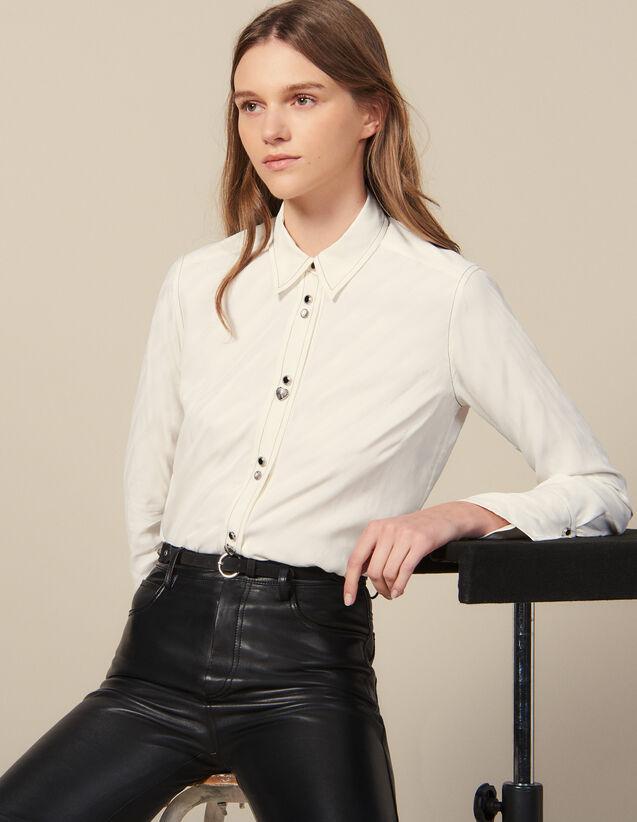 Camicia Con Bottoni Gioiello : Top & Camicie colore Ecru