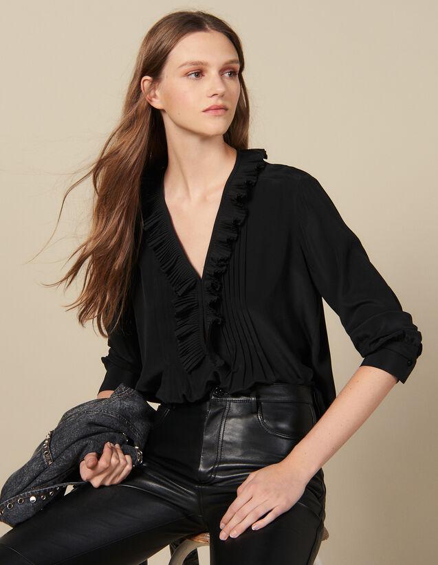 Top En Soie À Decolleté Bordé De Plissé : Tops & Chemises couleur Noir