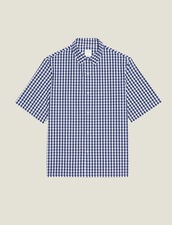 Camicia Vichy In Tessuto Giapponese : Sélection Last Chance colore Blu Marino