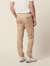 Pantaloni Vita Elasticizzata In Cotone : Pantaloni & Short colore Beige