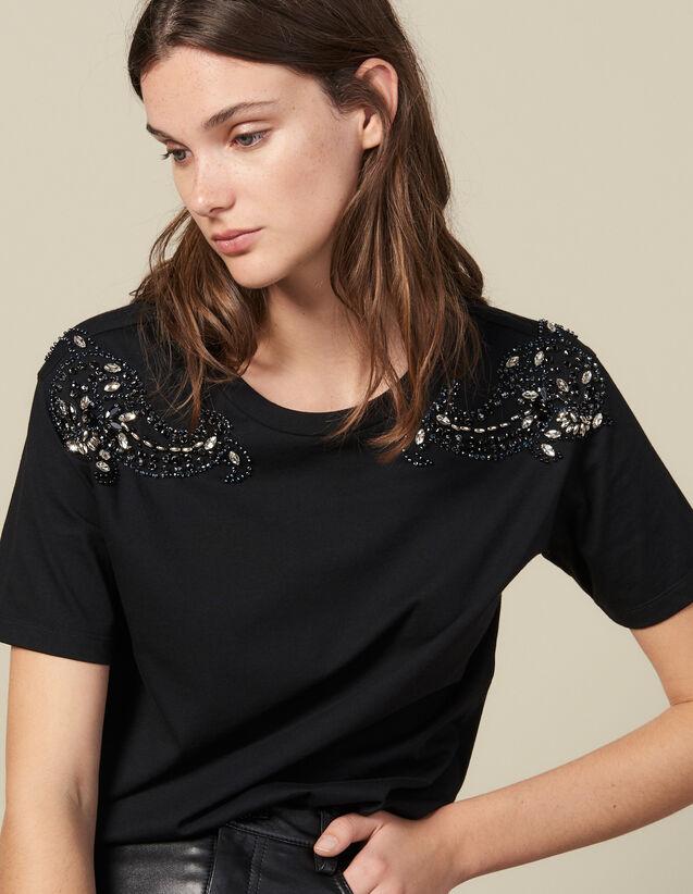 T-Shirt Ricamata Sulle Spalle : Magliette colore Nero