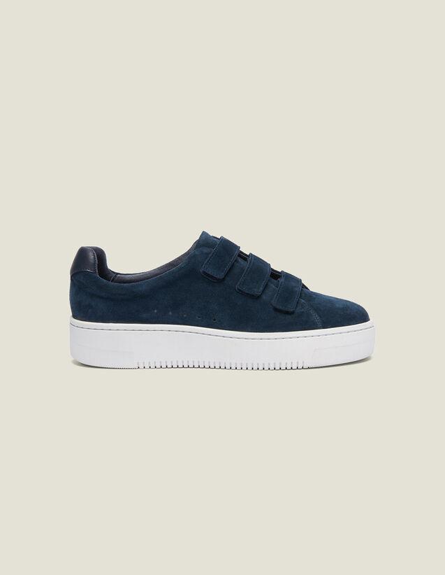 Sneaker In Pelle Con Chiusura Velcro : Collezione Estiva colore Blu Marino