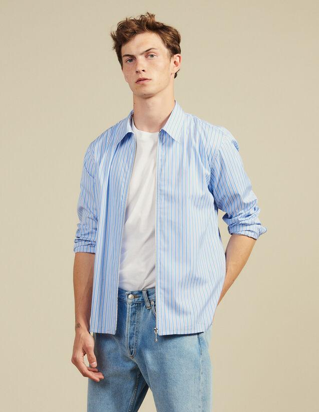 Camicia A Righe Con Zip : Sélection Last Chance colore Blu