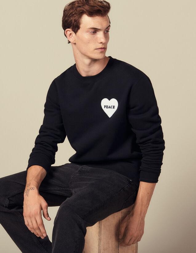 Sweat En Coton Avec Patch Peace : Sweats couleur Noir