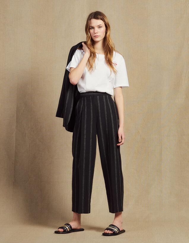 Pantaloni Coordinati A Righe Con Pince : Pantaloni colore Nero