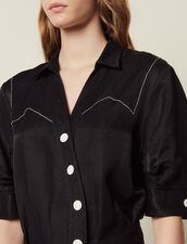 Robe Courte À Boutonnage Asymétrique : LastChance-FR-FSelection couleur Noir