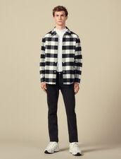 Giubbotto Stile Camicia In Lana A Quadri : -40% colore Nero/Bianco
