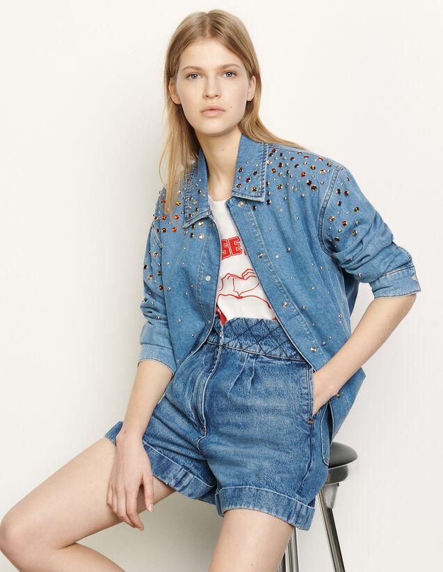 Chemise en jean à strass multicolores : Tops & Chemises couleur Bleu jean