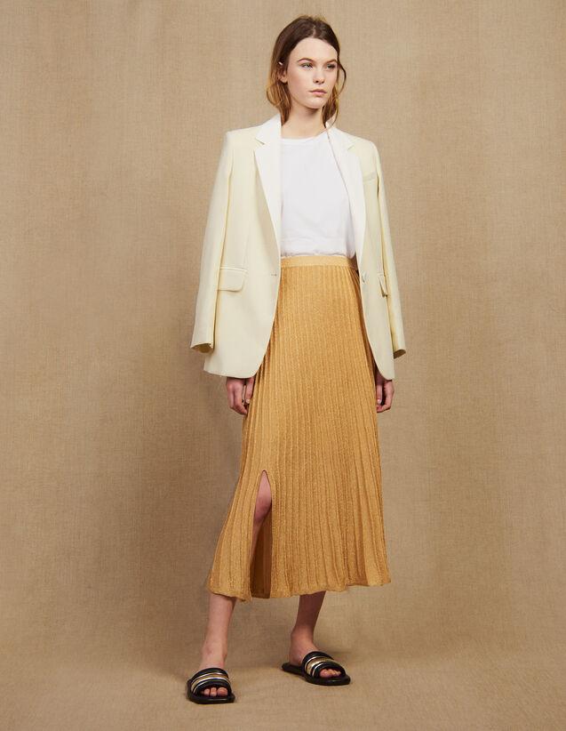 Gonna Lunga Plissettata In Maglia : Gonne & Short colore Oro