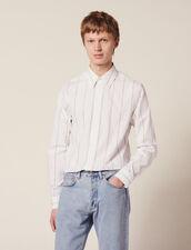 Camicia In Cotone A Righe Doppie : Sélection Last Chance colore Bianco