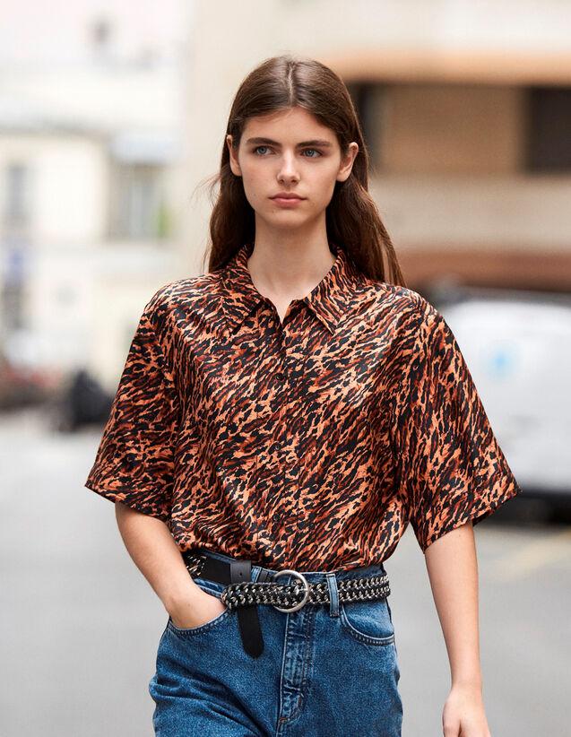 Camicia Stampata In Twill Di Seta : Novità colore G014