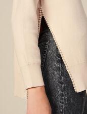 Pullover con spacco ricamato di perle : LastChance-ES-F30 colore Beige