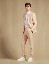 Pantaloni Da Completo In Misto Lino : Sélection Last Chance colore Rosa pallido