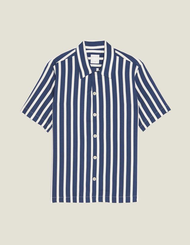 Camicia Maniche Corte Righe A Contrasto : Camicie colore Blu Marino