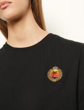T-shirt con applicazione sul petto : Magliette colore Nero