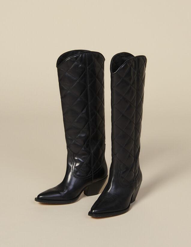 Stivali cowboy alti in pelle matelassé : Tutte le Scarpe colore Nero