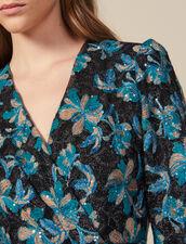 Robe en tulle brodée de sequins : LastChance-ES-F50 couleur Noir/turquoise