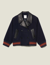Giubbotto corto in lana : Cappotti colore Blu Marino