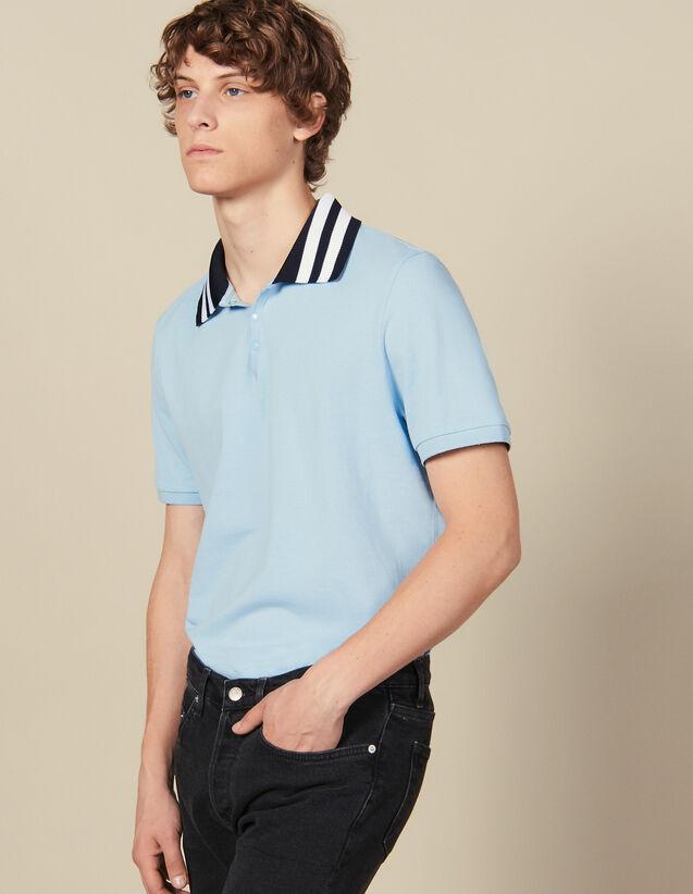 Polo In Cotone Con Collo A Righe : Collezione Inverno colore Sky Blue