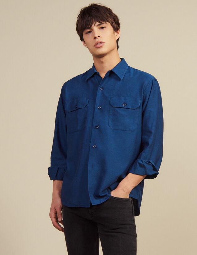 Camicia Fluida Con Motivo Chevron : SOLDES-CH-HSelection-PAP&ACCESS-2DEM colore Blu