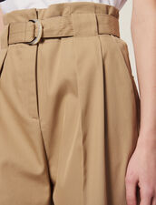Pantaloni A Vita Alta Con Cintura : null colore Beige