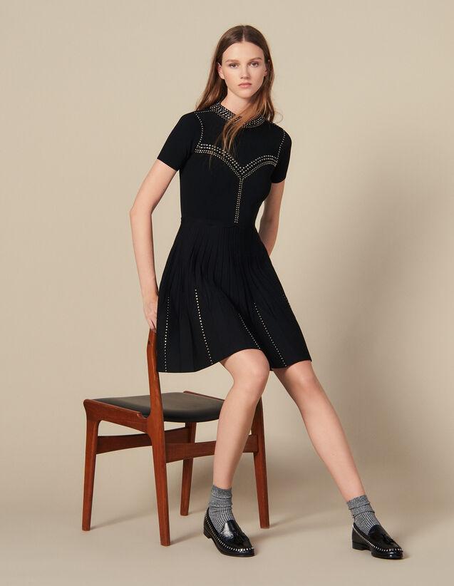 Robe Courte En Maille Ornée De Studs : FBlackFriday-FR-FSelection-30 couleur Noir