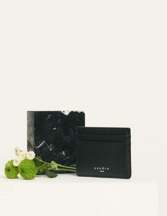 Porte-cartes en cuir grainé : HCollectionHiverAcc couleur Taupe