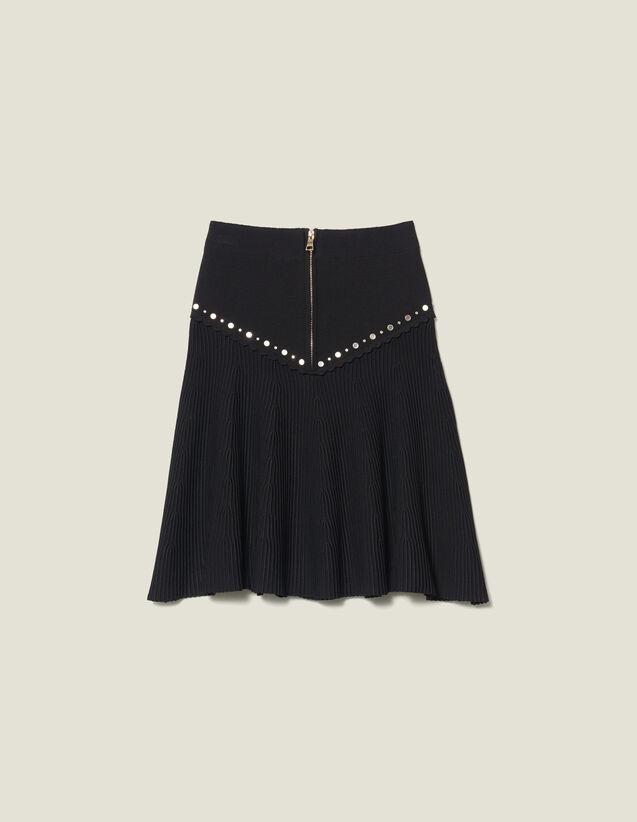 Jupe En Maille Évasée Avec Un Zip : Jupes & Shorts couleur Noir
