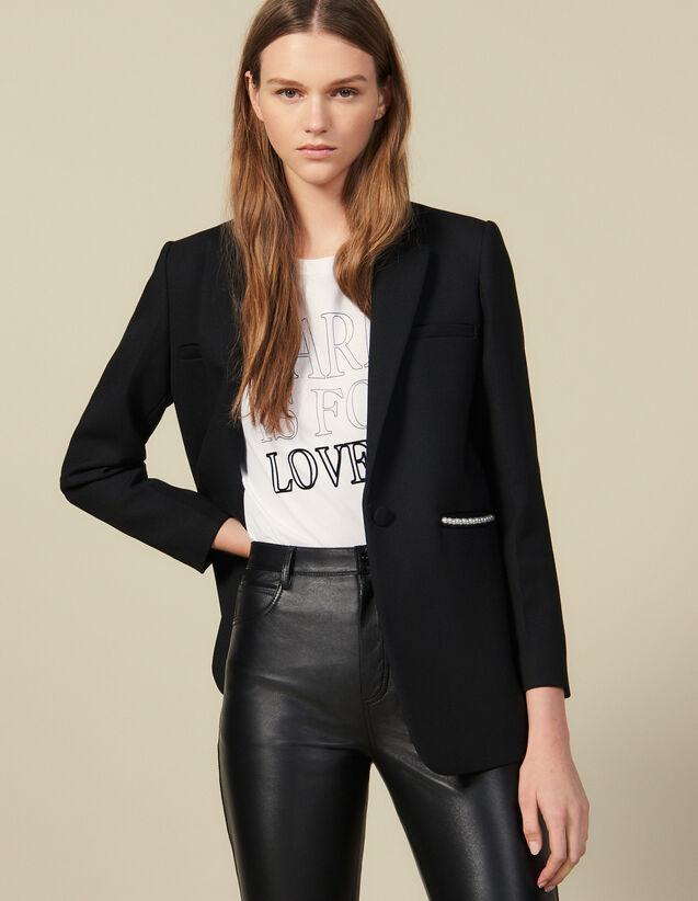 Giacca blazer ornata da perle : Giacche & Giubbotti colore Nero