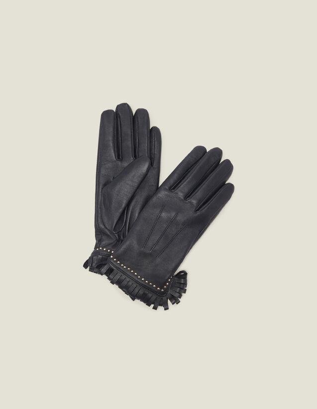 Gants En Cuir Ornés De Studs Et Franges : Gants & Bonnets couleur Noir