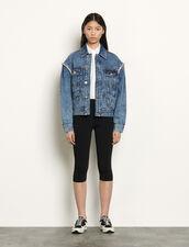 Giacca in jeans ornata da strass : Giacche & Giubbotti colore Blue jeans