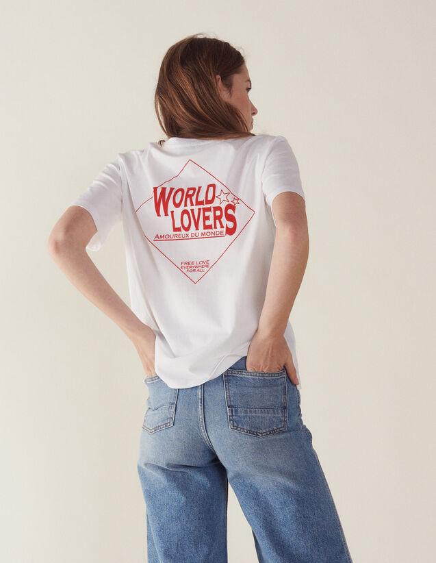 T-Shirt Con Scritta Floccata : null colore Bianco
