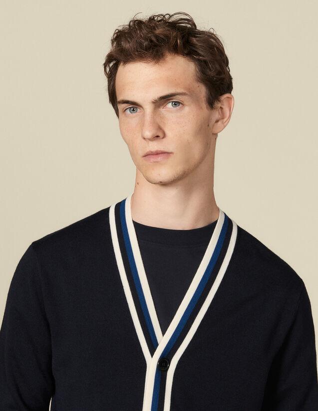 Cardigan Boutonné À Galon Rayé : Pulls & Cardigans couleur Marine