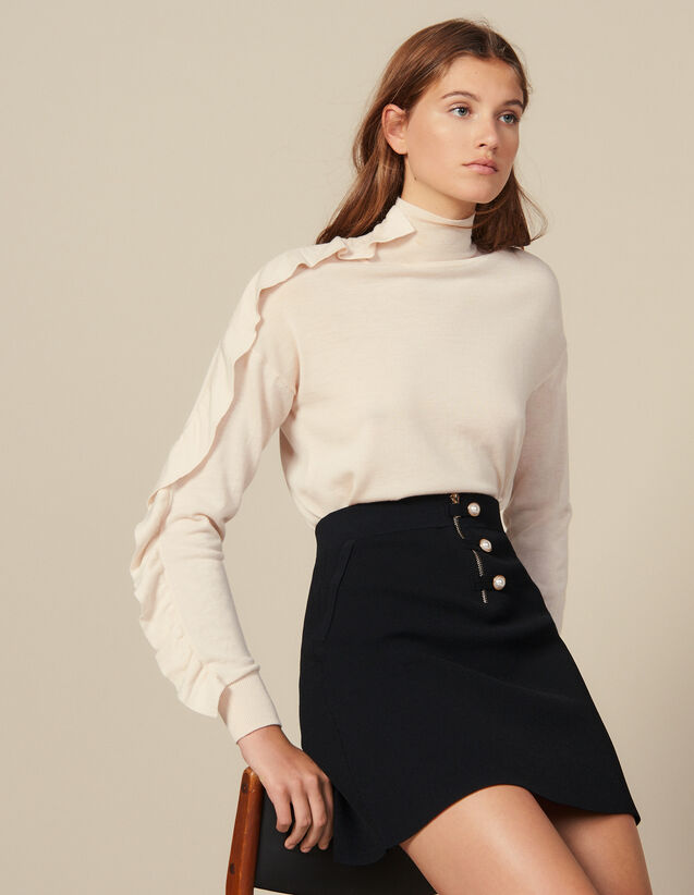 Jupe courte trapèze en maille : Jupes & Shorts couleur Noir