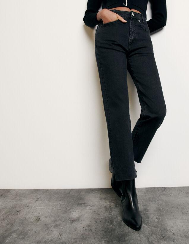 Jeans dritti a taglio vivo : Collezione Estiva colore Black - Denim