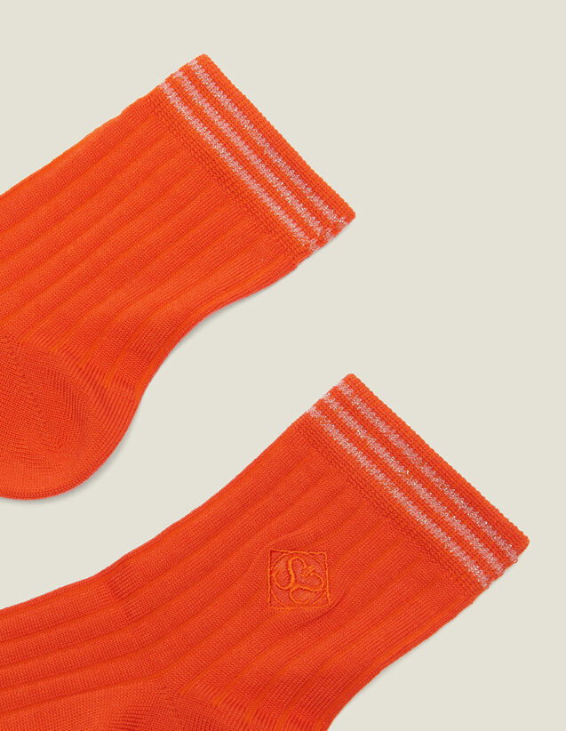 Chaussettes En Coton Avec Broderie : LastChance-FR-FSelection couleur Orange Vermillon