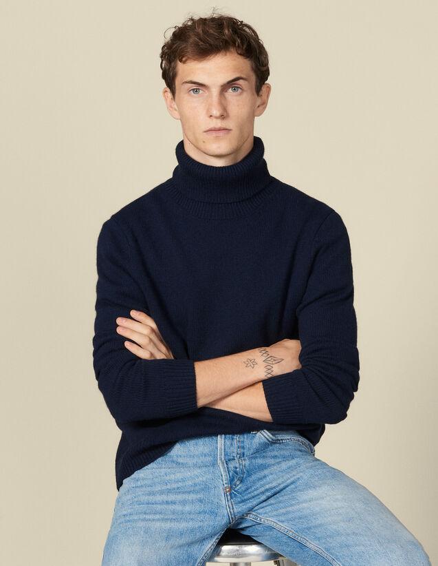 Pull à col roulé en laine et cachemire : Pulls & Cardigans couleur Ecru