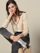 Pullover Con Scollo Ornato Da Gioielli : LastChance-ES-F50 colore Beige