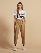 Pantaloni A Vita Alta Con Cintura : Pantaloni colore Beige