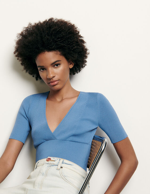 Pullover corto con scollo a V : Collezione Estiva colore Ciel