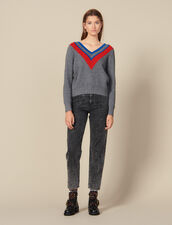 Pullover Scollato Con Decorazione : FBlackFriday-FR-FSelection-Pulls&Cardigans colore Grigio