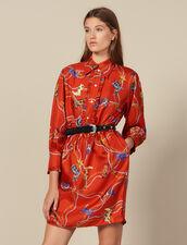 Robe courte en twill de soie imprimée : FBlackFriday-FR-FSelection-50 couleur Rouge