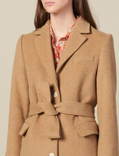 Cappotto lungo in panno di lana aderente : Cappotti colore Beige