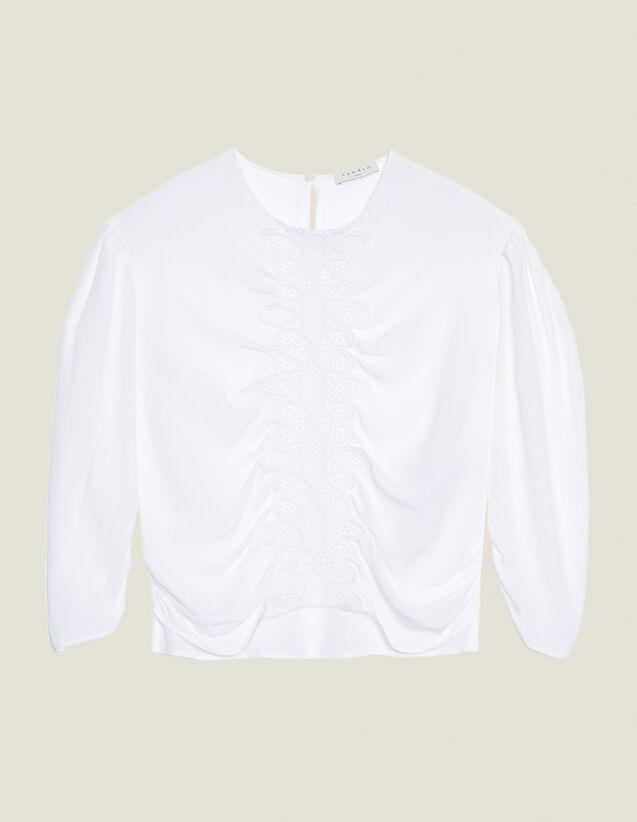 Top In Seta A Maniche Lunghe : null colore Bianco
