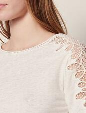 T-Shirt In Lino E Decorazioni In Pizzo : null colore Ecru