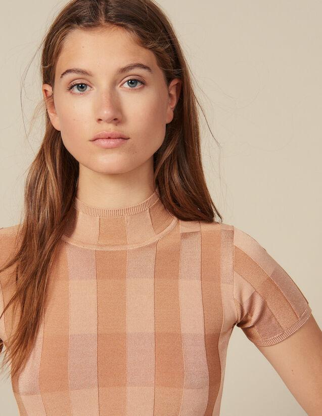 Pullover Collo A Lupetto A Maniche Corte : Maglieria & Cardigan colore Carne
